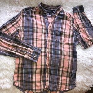 Aeropostale Pink Flannel Button Up Shirt Medium